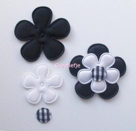 Set bloemen satijn zwart en wit.