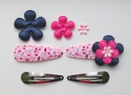 Zelf haarspeldjes maken gebloemd met satijnen bloemen van 5.5 cm.